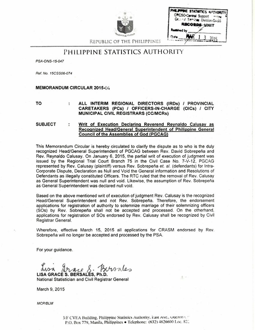 Psa formerly nso recognizes rev calusay as pgcag head psa letter madrichimfo Images
