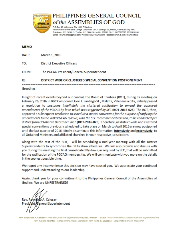 MEMO Postponement of RATIFICATION MEETINGS 03012016_001